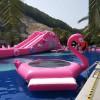 户外大型充气水上乐园设备粉色全城超长旱地城市充气水滑道梯新品
